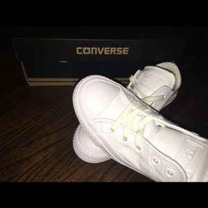 Brand new in box all white LEATHER converse.